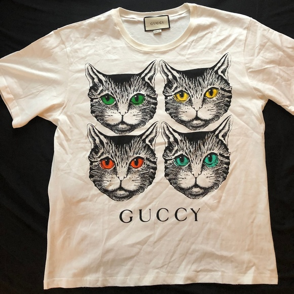 1a9a32fd8 Gucci Shirts | Mystic Cats T Shirt With Guccy Logo Mens | Poshmark